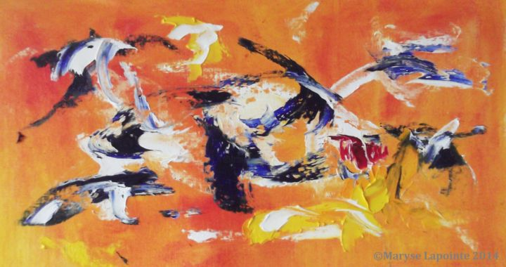 Poisson (Fish) - 2014.jpg - Painting,  28x51x2 cm ©2014 by Maryse Lapointe -                                        Abstract Art, Abstract Expressionism, poisson, fish, orange