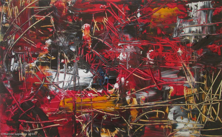"""Painting titled """"Chaos et Lumière 4"""" by Maryse Lapointe, Original Art, Oil"""