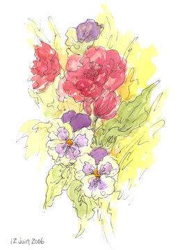 Drawing,  8 x 11 in ©2006 by Marguerite Vanasse -  Drawing, artwork_cat.Colors, Dessin, encre, aquarelle, fleurs, croquis