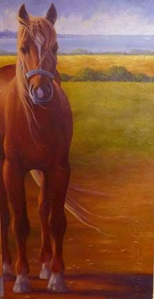 Tranquilité à Kamouraska - Painting,  36x18 in ©2012 by Marguerite Vanasse -            Peinture animalière, peintre animalier, chevaux, cheval, paysage, huile, animaux, animal