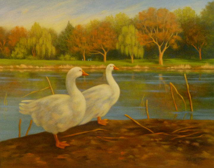 """Duo"" - Painting ©2013 by Marguerite Vanasse -                            Realism, Peintre animalier, peinture animalière, animaux, canards, oiseaux, huile, impressions, posters, reproductions"