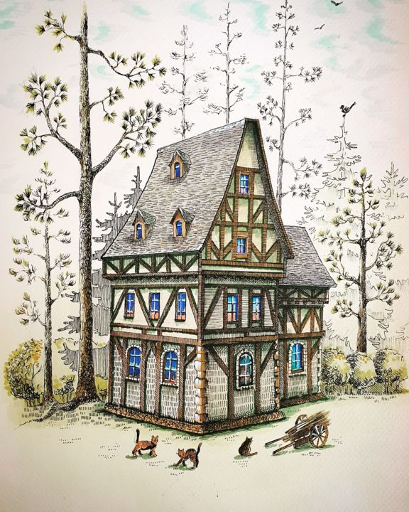 """Painting titled """"Little house in the…"""" by Мariya Gromova, Original Art, Marker"""