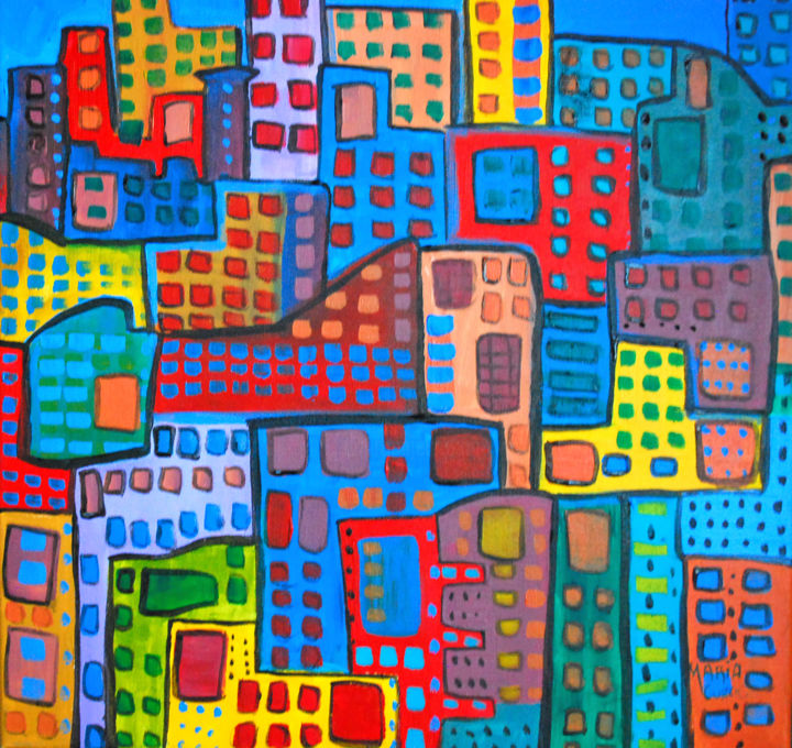 """Painting titled """"City in motion"""" by Curcicfineart, Original Art, Acrylic"""