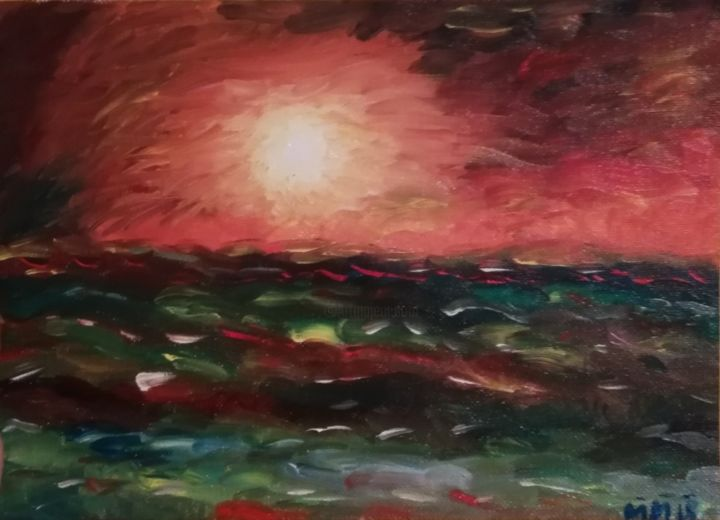 """Painting titled """"Endless sunset"""" by Maria Marchis, Original Art, Oil"""