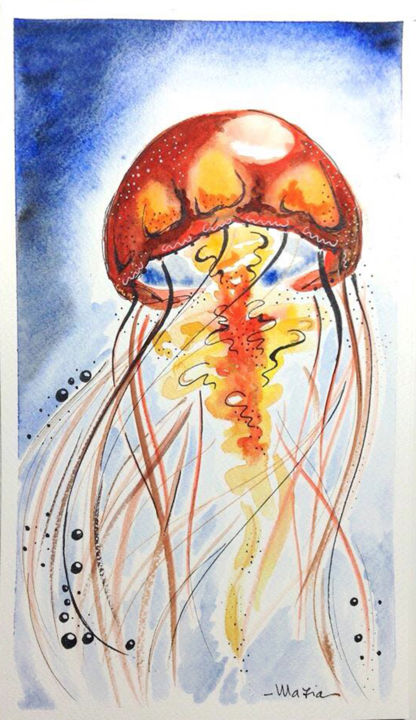 Jellyfish - Medusa#1 - Painting,  11.8x7.1 in, ©2015 by Maria Grazia Sabella -                                                                                                                                                                                                                                                                                                                                          Animals, Nature, acquerello, jellyfish, medusa, watercolor, nature
