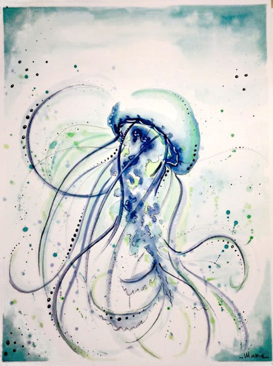 Jellyfish - Medusa#4 - Painting,  18.1x15 in, ©2015 by Maria Grazia Sabella -                                                                                                                                                                                                                                                                                                                                                                                                                                  Water, Animals, Nature, acquerello, watercolor, sea, mare, meduse, jellyfish