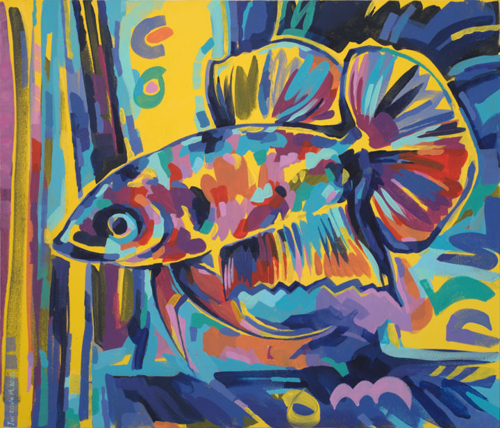"""Painting titled """"Graceful betta"""" by Maria Iurkova, Original Art, Acrylic Mounted on Stretcher frame"""