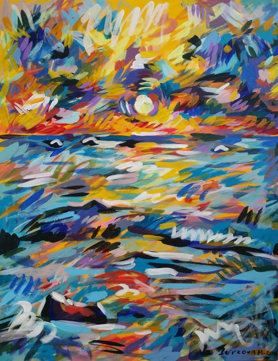 """Painting titled """"Storm"""" by Maria Iurkova, Original Art, Acrylic Mounted on Stretcher frame"""