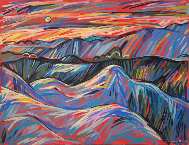 """Painting titled """"Peaks and valleys o…"""" by Maria Iurkova, Original Art, Acrylic Mounted on Stretcher frame"""