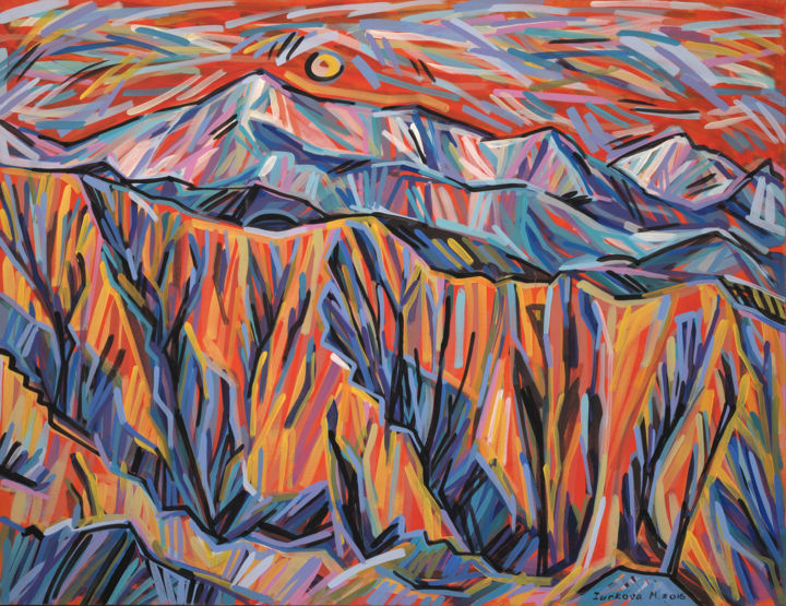 """Painting titled """"Untold mountain sto…"""" by Maria Iurkova, Original Art, Acrylic Mounted on Stretcher frame"""