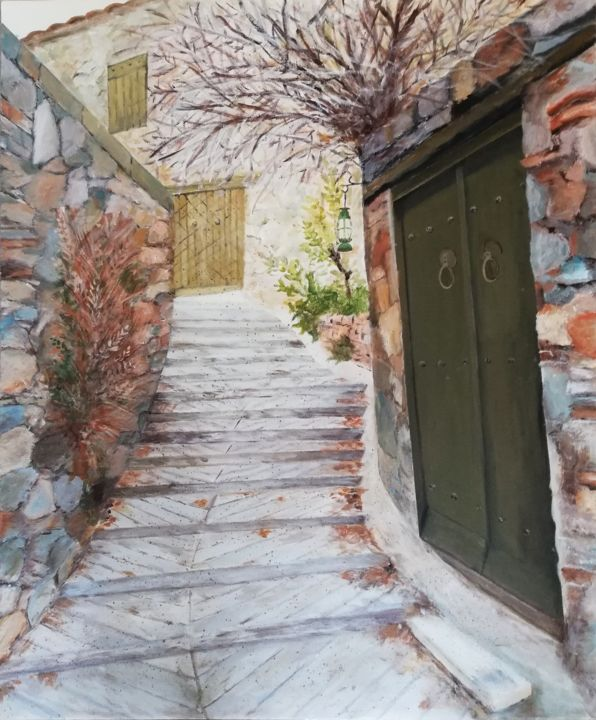 Lazania - Painting,  25.6x21.3x0.8 in, ©2019 by Maria Photiadou -                                                                                                                                                                                                                                                  Architecture, Old door, Stairs, Stone, Village