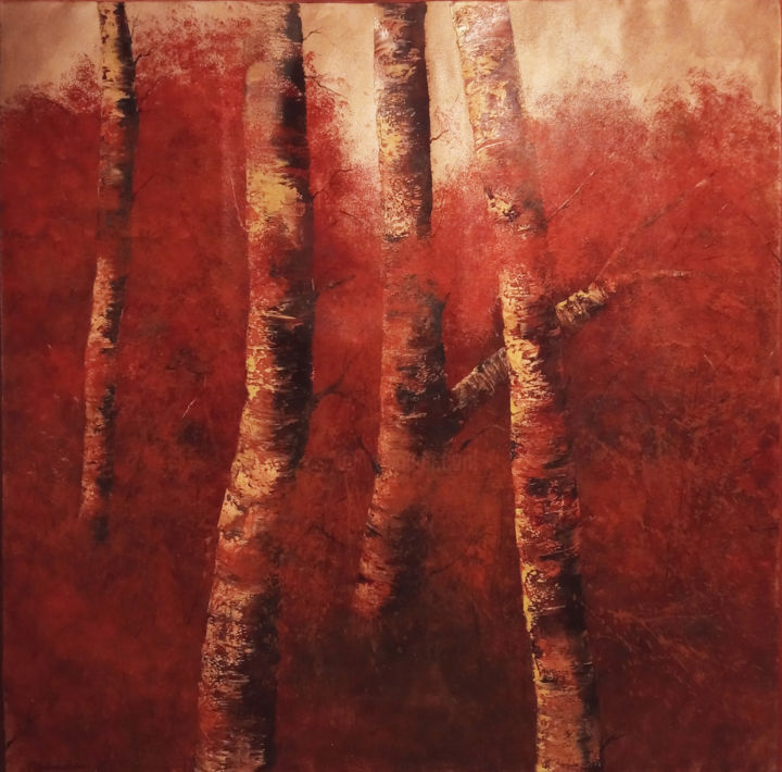 """Painting titled """"Bosque Rojo"""" by Soledad, Original Art, Oil"""