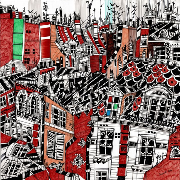 Red Roofs of Munich - Drawing,  55x55x1 cm ©2018 by Maria Susarenko -                                                                                                                                Art Deco, Art Nouveau, Illustration, Impressionism, Abstract Art, Architecture, Geometric, Cities, Cityscape, art, arte, artwork, penture, illustration, ink, drawing, abstract, painting, modern, modern painting, urban, landscape, city, cityscape, germany, munich, sketch, sketching, sketchbook, graphic, graphics, graphic art, travel, travelling, roof top, roof tops, red roof, building, street, sky, window, view from window, bird, birds