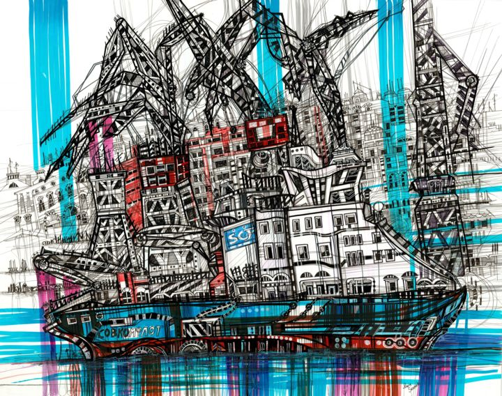 Ship Cranes - © 2018 art, arte, artwork, abstract, ink, drawing, illustartion, sketch, sketching, sketchbook, modern art, painting, saint petersburg, urban, landscape, city, cityscape, crane, shipyard, admirality shipyard, russia, abstract painting, graphic, graphics, graphic art, decor, home decor, contemporary art, sea, seascape, ocean, river, travel, travelling Online Artworks