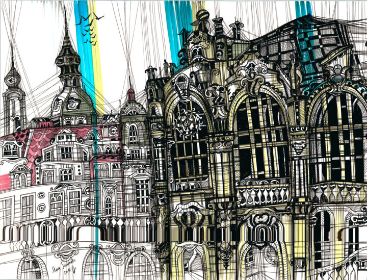 Dresden - Painting,  35x50x1 cm ©2018 by Maria Susarenko -                                                                                                                                                            Abstract Expressionism, Illustration, Paper, Abstract Art, Angels, Architecture, Cities, Cityscape, Culture, Landscape, Travel, art, arte, artwork, abstarct, ink, drawing, modern art, painting, modern painting, dresden, dresden city, zwinger, dresden architecture, baroque, zwinger palace, dresden cityscape, urban, landscape, contemporary, illustartion, contemporary painting, frauenkirche, dresden frauenkirche, love, travel, travelling