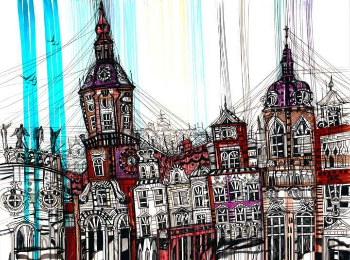 Dresden Cityscape - Painting,  37x50x1 cm ©2018 by Maria Susarenko -                                                                                                                                                            Abstract Expressionism, Illustration, Contemporary painting, Paper, Abstract Art, Angels, Architecture, Gothic, Culture, Landscape, Travel, art, arte, artwork, abstract, ink, drawing, illustration, zwinger palace, zwinger dresden, dresden city, cityscape, urban, landscape, graphic, graphics, graphic art, contemporary art, dresden drawing, dresden painting, love, emotions, travel, travelling, architetcure, architecture design, interior, interior design, interior art