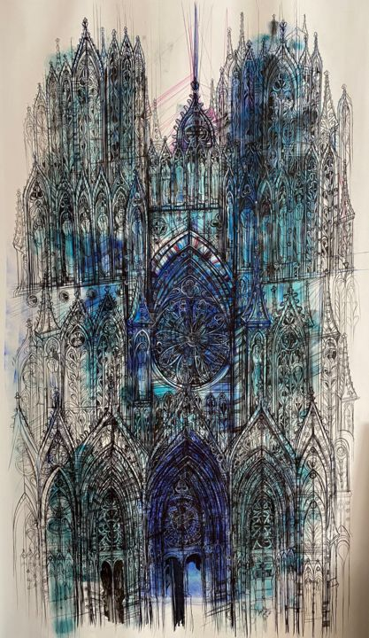 """Painting titled """"Cathedral Notre-Dam…"""" by Maria Susarenko, Original Art, Acrylic"""