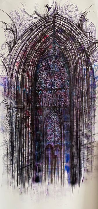 """Painting titled """"Gothic Cathedral"""" by Maria Susarenko, Original Art, Tempera"""