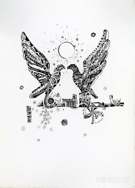 """Painting titled """"Bird Fly"""" by Maria Bakush, Original Art, Other"""