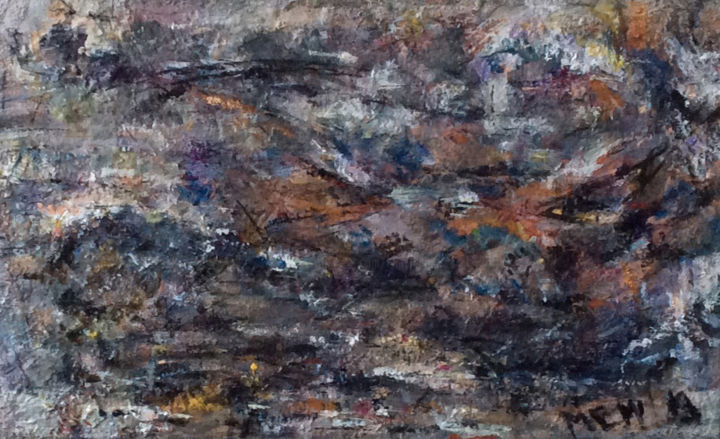 High In The Mountains - Painting,  13.4x21.3x2.4 in, ©2019 by Maria Emilov -                                                                                                                                                      Abstract Art, Landscape, Mountainscape