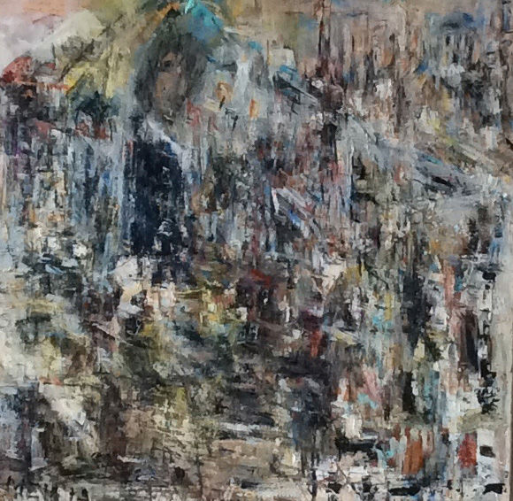 Lost In Time / The Lost City/ - Painting,  32.3x32.3x1.6 in, ©2018 by Maria Emilov -                                                                                                                                                                                                                                                                                                                  Abstract, abstract-570, Cityscape, sacred building, streets, vision