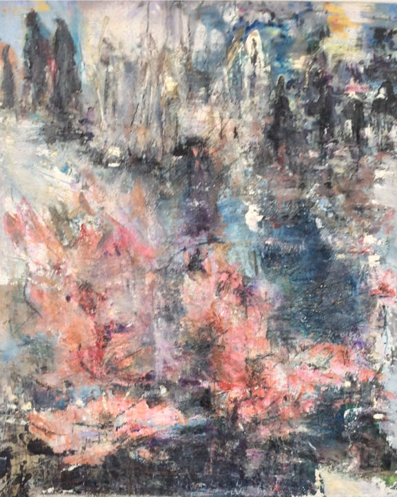'under the blossom tree' - Painting,  94x81x3 cm ©2019 by Maria Emilov Silvestar -                                            Abstract Art, Black and White, flower, story, journey, oil, abstract