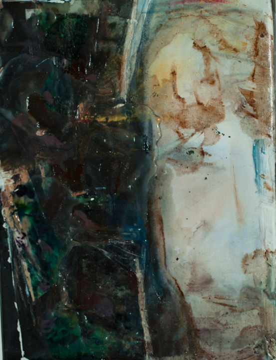 not-selfie - Painting, ©2016 by Maria Emilov -                                                                                                                                                                                                                                                                                              Portraits, portrait, memory, abstract, space, reflection