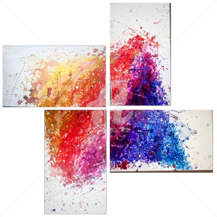 Explosion.jpg - Painting,  21.7x13x0.6 in, ©2018 by Mariam Beqqal -