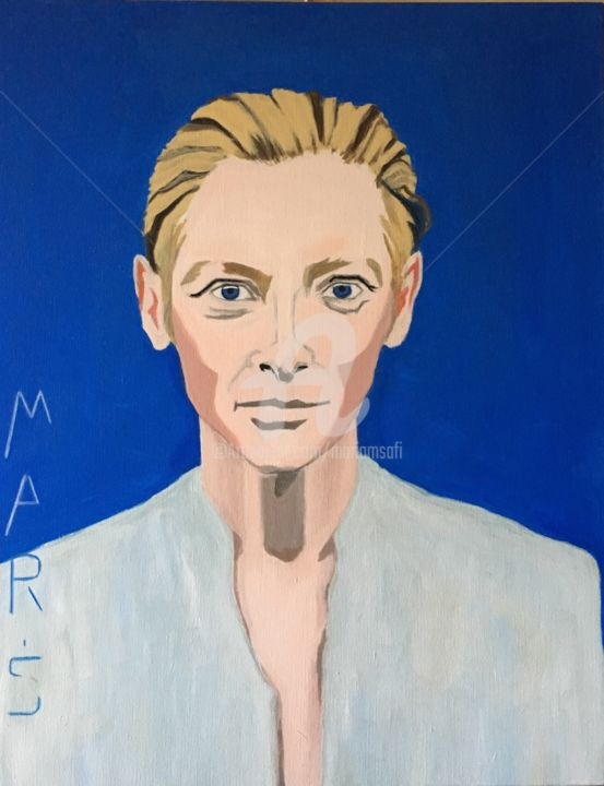 """Tilda SWINTON"" - Painting ©2017 by MARIAM SAFI   / MARIAM SCI-FI -                                            Figurative Art, Celebrity, Portrait, Tilda swinton, Egyptian mode, Muse de Mariam"