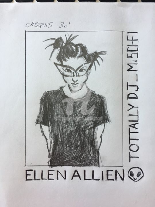 MASTER ELLEN ALLIEN / TOTTTTTALLLLY ELEKTRO - Drawing ©2017 by MARIAM SAFI   / MARIAM SCI-FI -                                                            Figurative Art, Paper, Pop Culture / celebrity, Ellen Allien, Musicenne, Electro, Berlin, Musiker, Musician, Musique electronique, Femme, Avant-garde