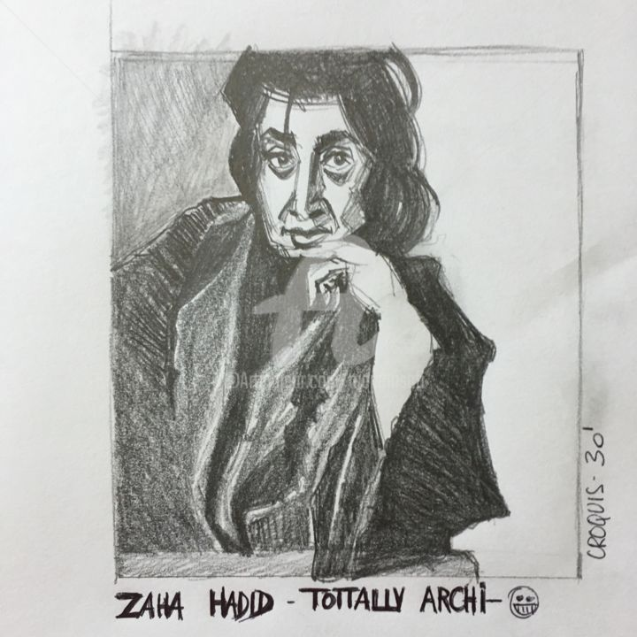 ZAHA HADID / TOTTTTALLLLLLY ARCHI - Drawing, ©2017 by Mariam Safi -                                                                                                                                                                                                                                                                                                                                                                                                                                                                              Architecture, Pop Culture / celebrity, Celebrity, Prix Pritzker, Zaha HADID, Architecture, Skecth, Femme, Avant-garde, Irak