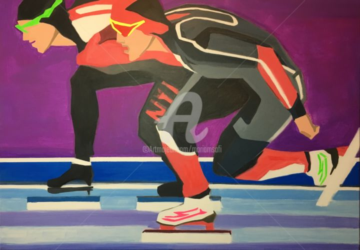 SHORT TRACK JO2018 - Painting ©2018 by MARIAM SAFI   / MARIAM SCI-FI -                                                            Figurative Art, Canvas, Sports, Patin à glace, Course sur glace, vitesse, skating, iceskating, short track, Nordschleife, jeux olympiques, pyeongchang 2018, Pierre de Coubertin