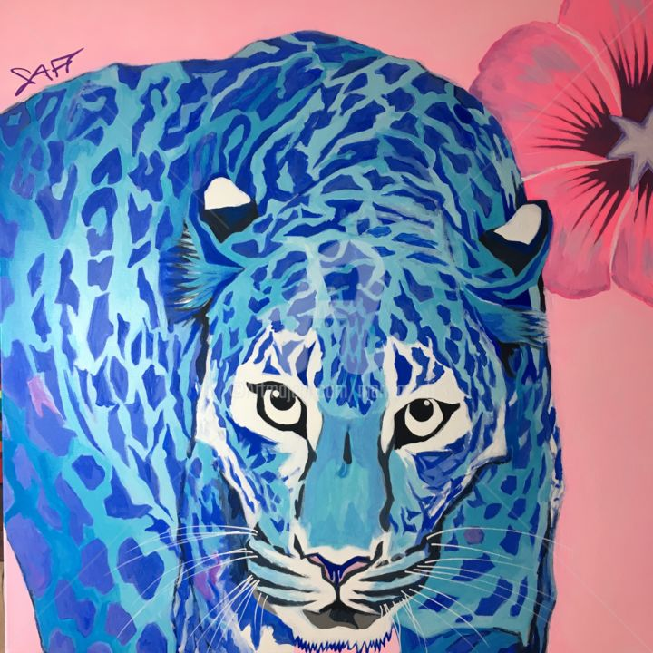 "BLUE LEOPARD, ""MY BIOART PROJECT""thanks to Crispr Cas9 - Painting,  31.5x31.5x1 in, ©2019 by MARIAM SAFI -                                                                                                                                                                                                                                                                                                                                                                                                                                                                                                                                                                                                                                                                                                                                                                                                                                                                                                              Figurative, figurative-594, Animals, Science, Science & Technology, Nature, CRISPR-Cas 9, Génétique, leopard, blue leopard, genetic, science, bioart, alba, bleu, blue, blau, nature, respect"