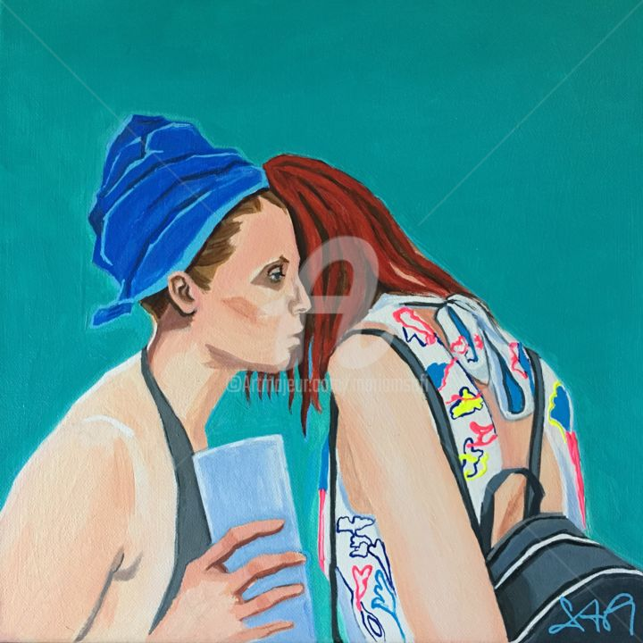 CONFIDENCE 2 - Painting,  15.8x15.8x0.8 in, ©2019 by Mariam Safi -                                                                                                                                                                                                                                                                                                                                                                                                          Figurative, figurative-594, Women, Femmes, communication, aider, écouter, confidence