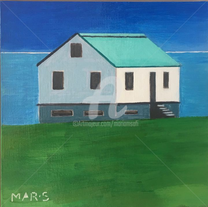 MY ISLANDIC HOUSE - Painting,  7.9x7.9x1 in, ©2019 by Mariam Safi -                                                                                                                                                                                                                                                                                                                                                                                                                                                      Figurative, figurative-594, Nature, Nature, maison, air pur, eau pure, house, water
