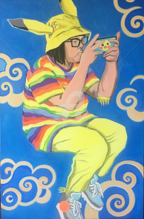 MIYOKO'S METAMORPHOSIS - Painting,  35.4x24.4x0.8 in, ©2019 by Mariam Safi -                                                                                                                                                                                                                                                                                                                                                                                                                                                                                                                                                                                                                                                                                                                                                                          Figurative, figurative-594, Pop Culture / celebrity, Science & Technology, Pikachu, Miyoko, miyoko's metamorphosis, métamorphose, kafka, japan, I love game, game, gamer, reality, fiction, japan addict