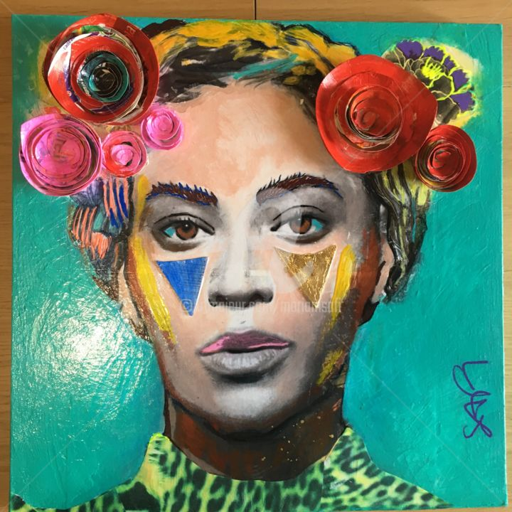 BEYONCE as Frida KAHLO - Painting,  15.8x15.8x0.8 in, ©2020 by MARIAM SAFI -                                                                                                                                                                                                                                                                                                                                                                                                                                                                                                                                              Figurative, figurative-594, Colors, Culture, Pop Culture / celebrity, Beyoncé, frida Kahlo, star, black woman, singer, chanteuse