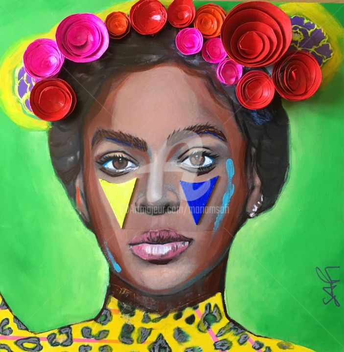 BEYONCE as Frida KAHLO Green - Painting,  15.8x15.8x0.4 in, ©2020 by Mariam Safi -                                                                                                                                                                                                                                                                                                                                                                                                                                                                                                                                              Figurative, figurative-594, Pop Culture / celebrity, Women, BEYONCE, Frida Khalo, Halo, Femmes, artistes, artist, twins