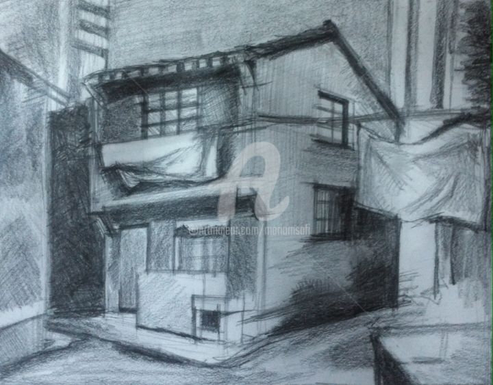 OLD NAIL HOUSE - Drawing,  7.9x9.8 in, ©2016 by Mariam Safi -                                                                                                                                                                                                                                                                                                                                          Love / Romance, Architecture, Chinese house, old house, destruction, mall, mall against house