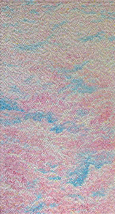 Vanilla clouds - Painting,  51.2x27.6x1 in, ©2019 by Mariana Prochkaruk -                                                                                                                                                                                                                                                                                                                                                                                                                                                                                                                                                                                          Impressionism, impressionism-603, Nature, sky, pointilism, pink, oil, painting, nature, dot, convas, contemporary