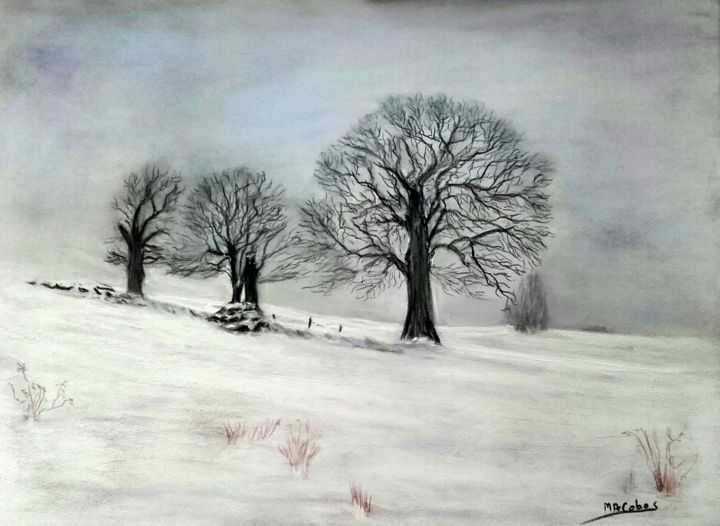 En pleine neige - Painting,  30x40 cm ©2018 by Marian Cobos -                                                                                                                    Environmental Art, Figurative Art, Minimalism, Tree, Fantasy, Rural life, Nature, Black and White, arbres, châtaigniers, neige, hiver, brume, blanc, pastel, saisons, paysage