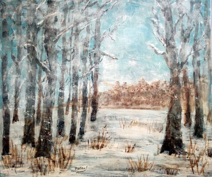 Tombe la Neige - Painting,  40x47 cm ©2018 by Marian Cobos -                                                                                                                                Environmental Art, Figurative Art, Impressionism, Contemporary painting, Tree, Botanic, Rural life, Nature, Landscape, arbres, neige, paysage, brou de noix, acrylique, marian cobos, sous-bois, hiver