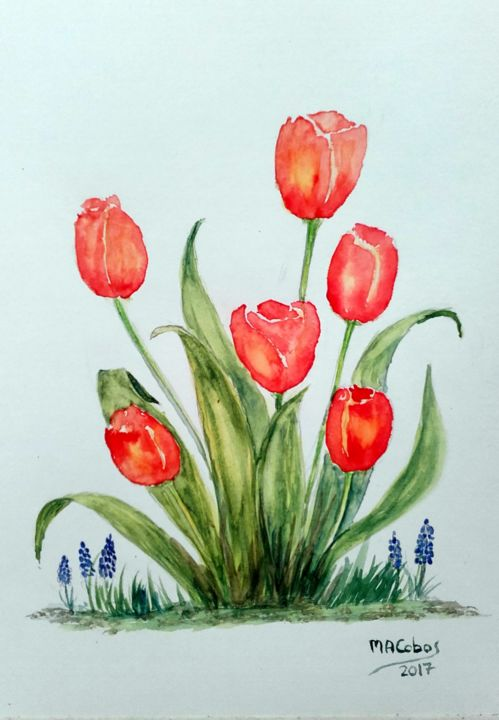 Tulipes rouges - Painting,  25x19 cm ©2017 by Marian Cobos -