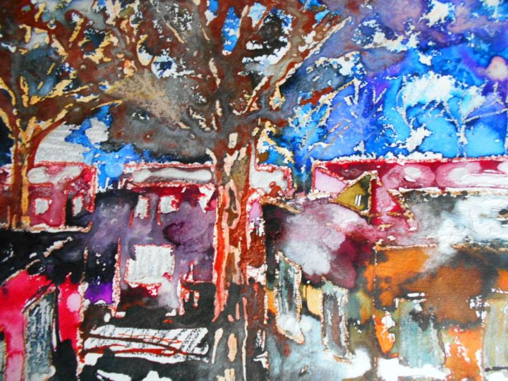 """Painting titled """"City"""" by Marianne Dufour, Original Art, Watercolor"""