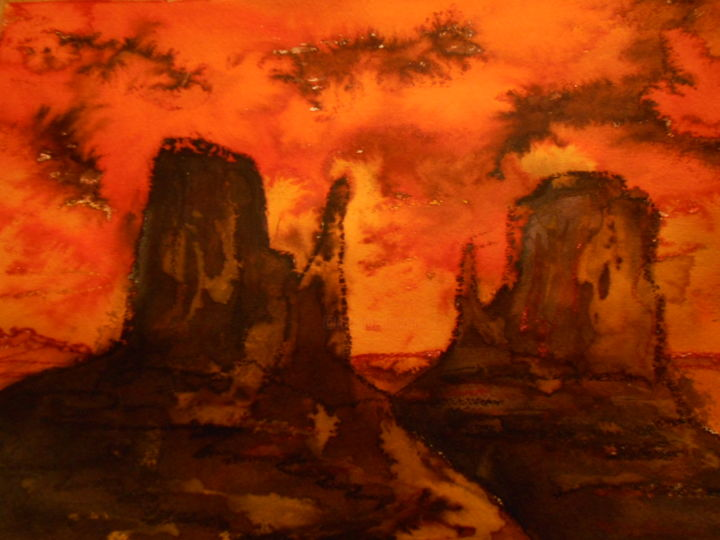 """Painting titled """"Arizona"""" by Marianne Dufour, Original Art, Watercolor"""