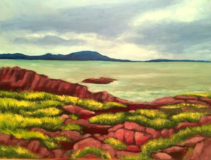 """Painting titled """"Fleuve 1"""" by Marianne Dufour, Original Art, Acrylic"""