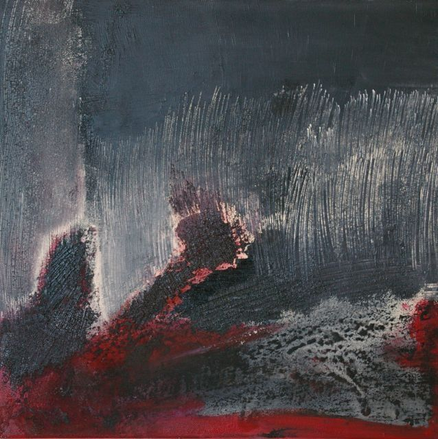 Trilogie rouge/noir 1 - Painting,  15.8x15.8 in, ©2008 by Mpb -