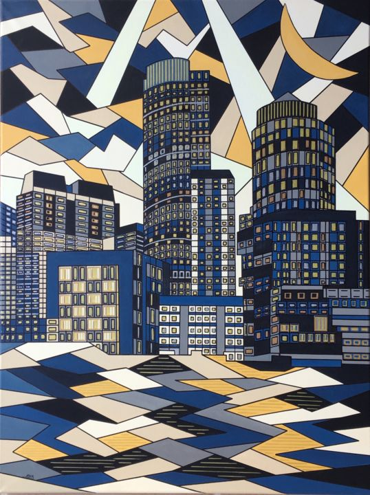 BOSTON - Painting,  31.5x23.6x0.6 in, ©2019 by GALERIEAMB41 -                                                                                                                                                                          Cubism, cubism-582, Cities