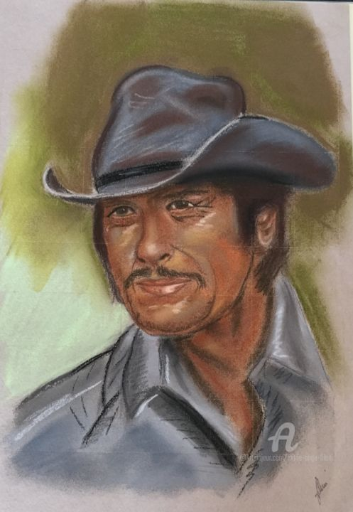 Charles Bronson - Drawing,  11.4x8.3 in ©2000 by Marie-Ange Fileni -                                            Realism, Men, portrait
