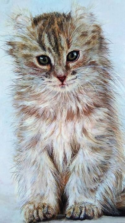 Caramel - Peinture,  11,8x7,9x0,8 in, ©2016 par Mariebretonne -                                                                                                                                                                          Figurative, figurative-594, artwork_cat.Cats